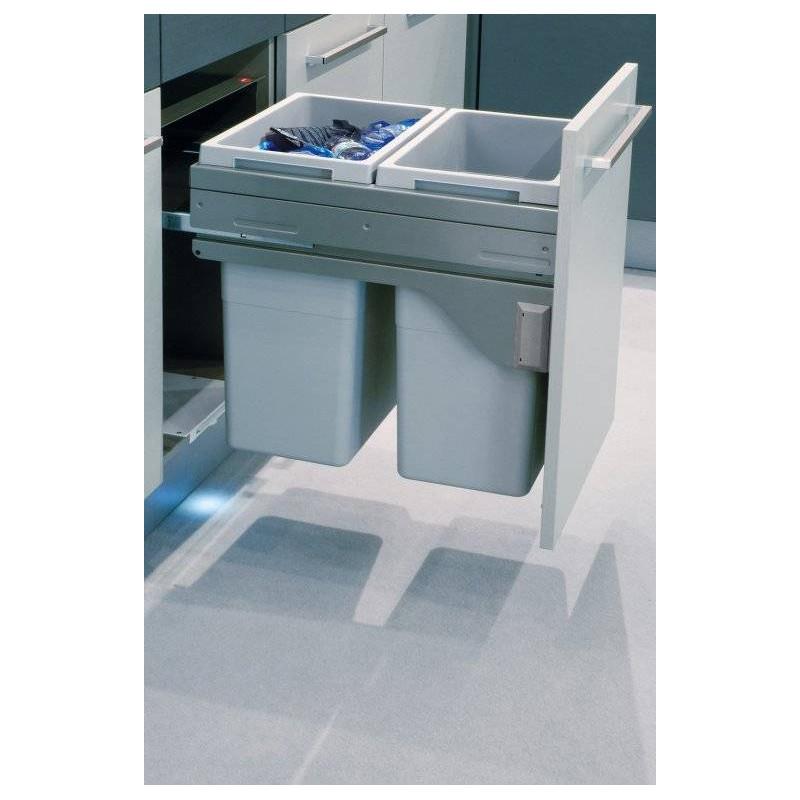 poubelle coulissante tri selectif 70l hailo accessoires de cuisines. Black Bedroom Furniture Sets. Home Design Ideas