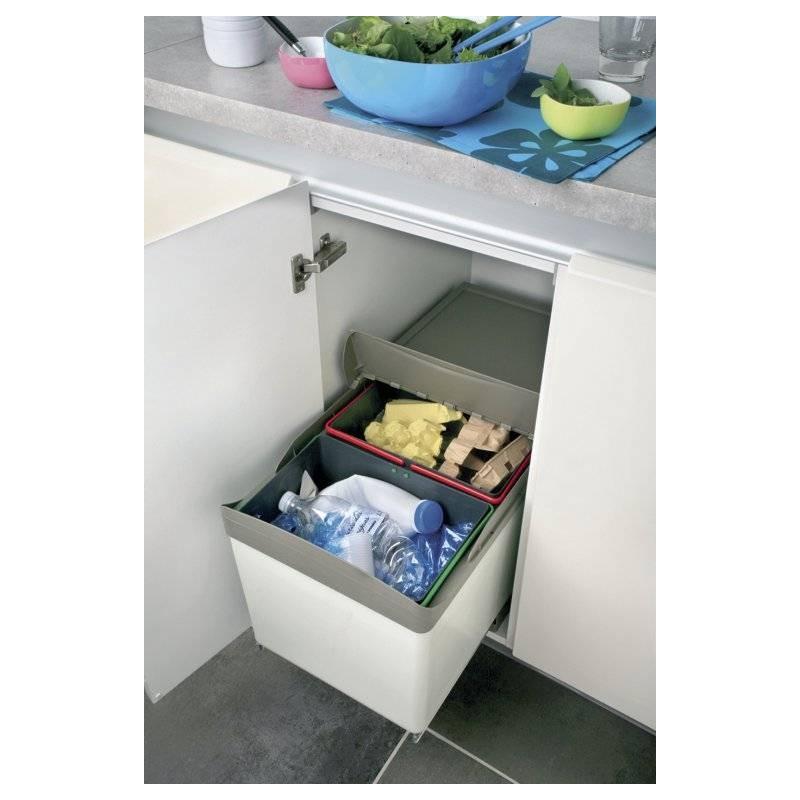 Poubelle tri 2 bacs ouverture automatique 32l accessoires - Protection tiroir cuisine ...