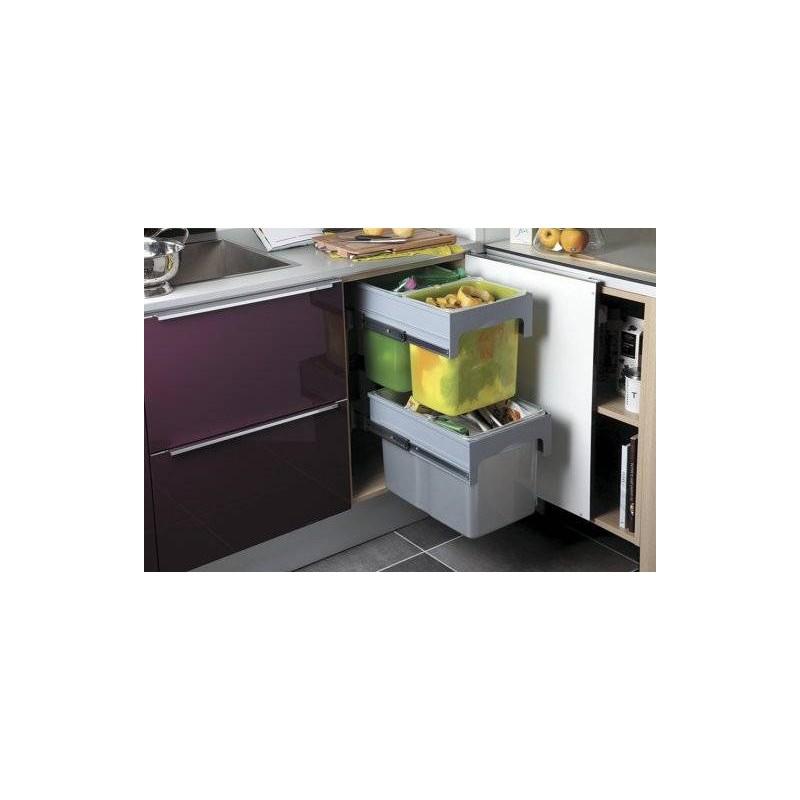 poubelle tri slectif 3 bacs sur coulisses de capacit 66 litres - Poubelle Tri Selectif 3 Bacs