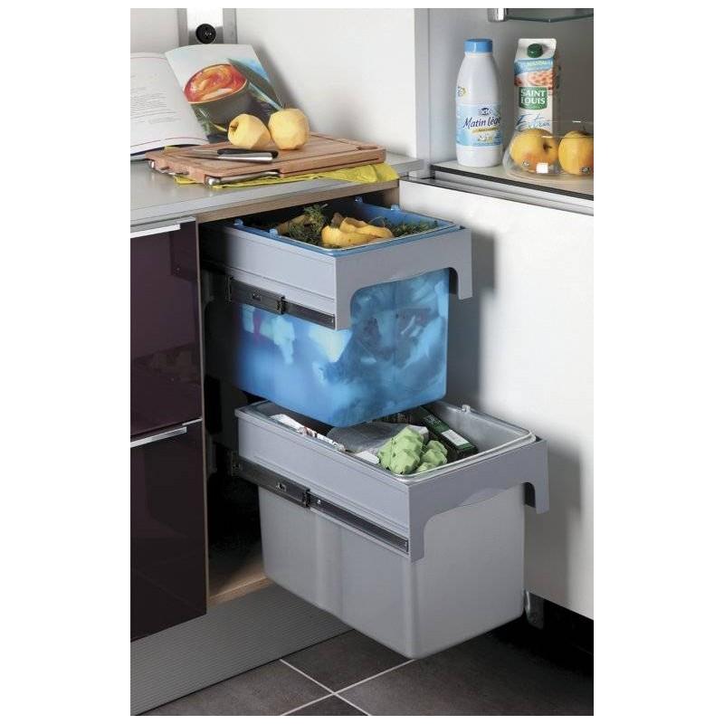 poubelle tri s lectif 2 bacs sur coulisses accessoires de cuisine. Black Bedroom Furniture Sets. Home Design Ideas