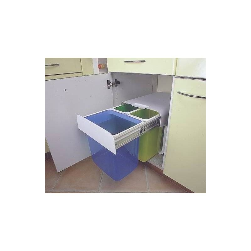 poubelle tri s lectif 3 bacs 32 litres accessoires de cuisines. Black Bedroom Furniture Sets. Home Design Ideas