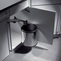 Poubelle ronde de capacité 15 litres avec système d'ouverture automatique