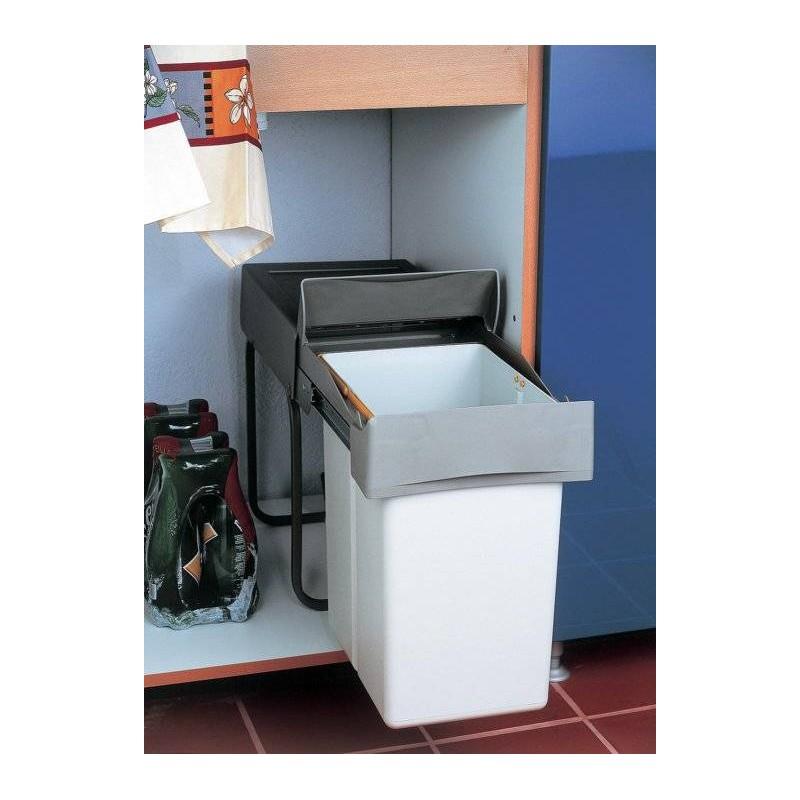 Poubelle coulissante 1 bac 20 litres robuste accessoires de cuisines - Poubelle de cuisine coulissante ...