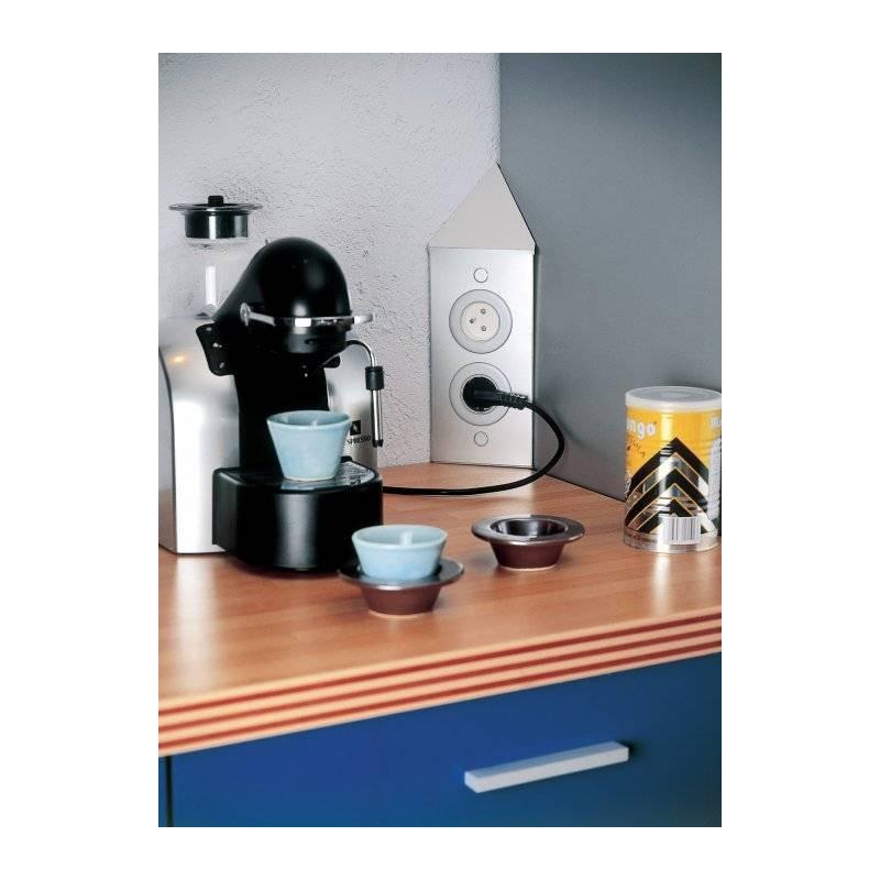 Bloc 2 prises sur angle de cr dence accessoires de cuisines - Prise electrique encastrable cuisine ...