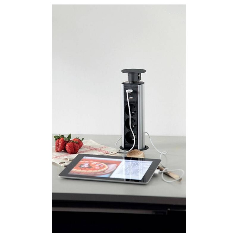 bloc prise avec usb encastrable plan travail accessoires. Black Bedroom Furniture Sets. Home Design Ideas