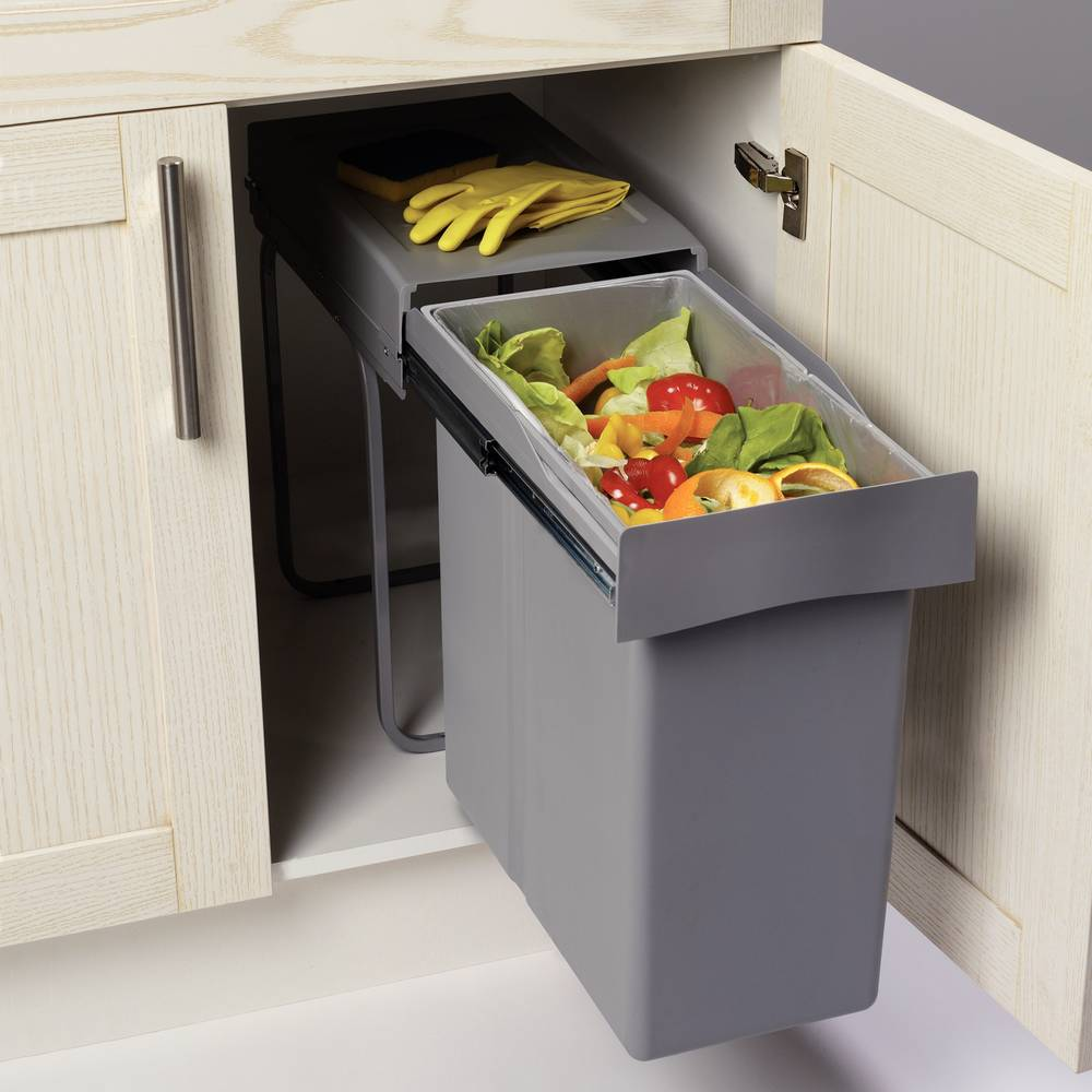 Poubelle coulissante meuble cuisine 40 litres Accessoires de ...