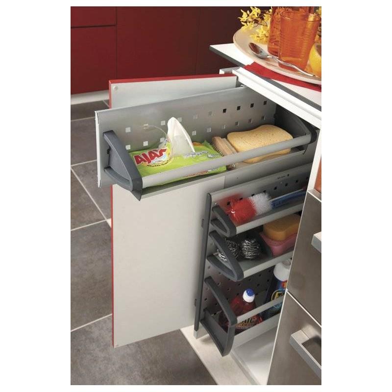 Panier de rangement coulissant meuble bas accessoires de for Protection meuble cuisine