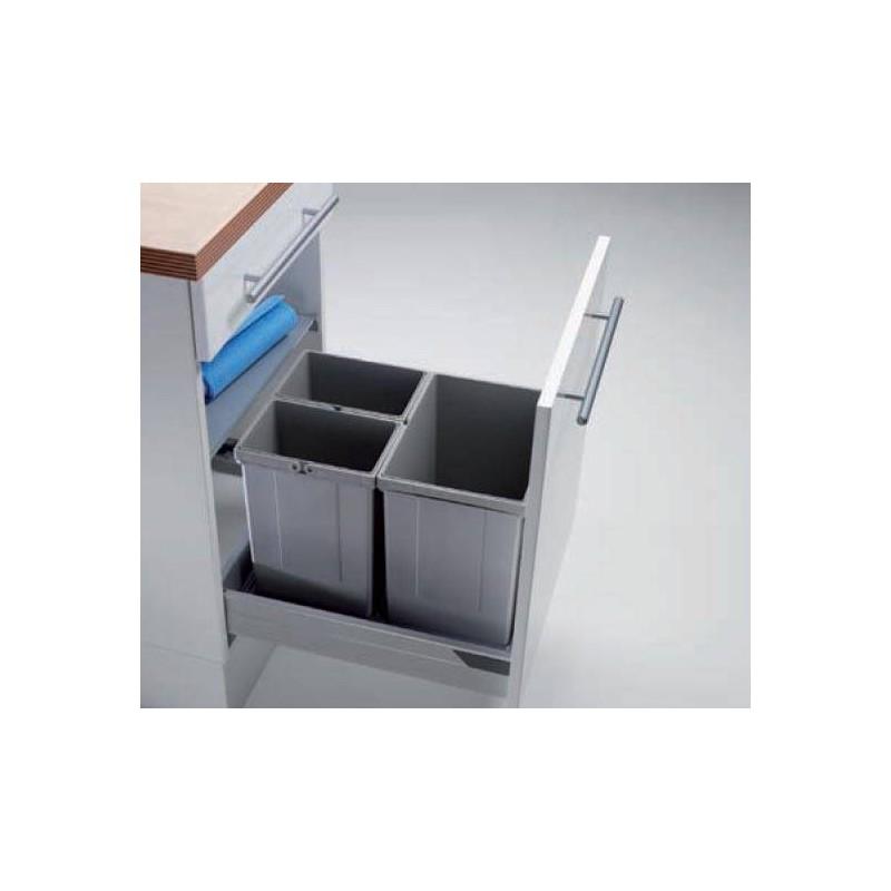 poubelle tri 3 seaux pour tiroir coulissant accessoires de cuisine. Black Bedroom Furniture Sets. Home Design Ideas