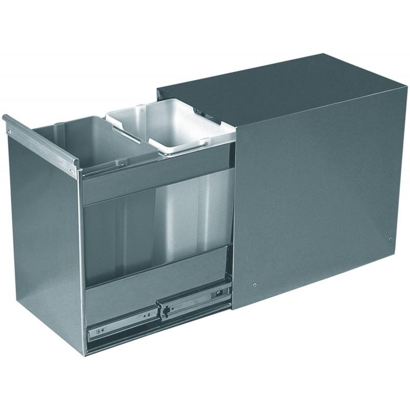 poubelle coulissante selective inox 2 seaux accessoires de. Black Bedroom Furniture Sets. Home Design Ideas