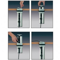 Prise électrique escamotable pour plan de travail ou meuble haut